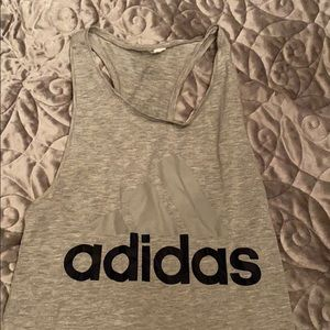 Women's Adidas Work Out Tank Top Grey/Navy Size M